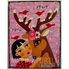 """Girl DEER and Red Birds 8"""" x 10"""" giclee PRINT of painting by LuLu Mypinkturtle available in my Etsy shop here https://mypinkturtleshop.etsy.com"""