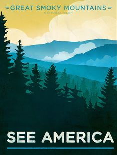 Great Smoky Mountains National Park See America WPA Poster