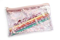 light pink Stars, Pencil case, Transparent wallet, Clear bag, Purse organizer, glitter bag by RossMiu on Etsy