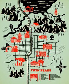 "Twin Peaks Map by Robert Farkas via Society 6 //  Fine art print on natural white, matte, ultra smooth, 100% cotton rag, acid and lignin free archival paper using an advanced digital dry ink method to ensure vibrant image quality. Custom trimmed with 1"" border for framing."