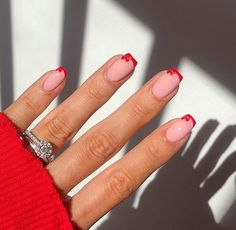 Red Tip Nails, French Tip Nails, Hair And Nails, French Tips, Pretty Nail Colors, Pretty Nails, Light Pink Nails, Oval Nails, Fire Nails