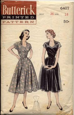 6407 Butterick 6407 ~ A crossover bodice with diagonal ruching/pleats, circular skirt, and bolero style neckline.Butterick 6407 ~ A crossover bodice with diagonal ruching/pleats, circular skirt, and bolero style neckline. Moda Vintage, Vintage Mode, Vintage Dress Patterns, Clothing Patterns, Skirt Patterns, Coat Patterns, Blouse Patterns, Vintage Outfits, Vintage Dresses