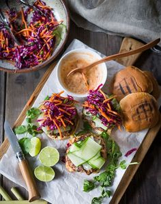 A delicious recipe for Thai Turkey Burgers- infused with lemongrass, ginger & basil, topped w/ Crunchy Asian Slaw and Spicy Aioli. Great Burger Recipes, Best Burger Recipe, Turkey Burger Recipes, Good Burger, Hamburger Recipes, Burger Night, Beef Recipes, Grilled Turkey Burgers, Greek Turkey Burgers
