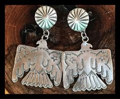 NAVAJO~STERLING SILVER~ TOOLED ~THUNDERBIRD ~ EARRINGS ~ BY VINCENT PLATERO    eBay