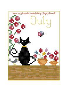 (10) Name: 'Embroidery : July Mini Cat Cross Stitch Pattern