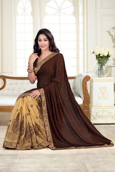 This Exclusive Coffee #Brasso Designer makes your beauty #perfect at your #wedding and festive occasions. Click To Shop Online- http://rekhamaniyar.in/Product/Coffee-Brasso-Designer-Saree-338