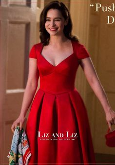 "Emila Clarke Red Cap-sleeve Tea-length Celebrity Dress In Movie ""Me Before You"""