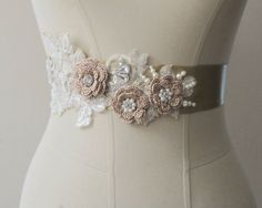Gold Bridal Belt Wedding Flower Sash Bridal Pearl Rhinestone  Beaded Belts Sashes on Etsy, $40.00