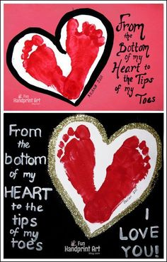 Footprint Heart I Love You Cards from Kids #FunHandprintArtBlog#HandprintHolidays #ValentinesDayCrafts #ValentinesDayCard #footprintart #footprintcraft #kidmadecard #handmadecard #kidscraft #ideasforkids