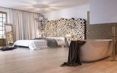 Holzwand hinter bed!! Genial