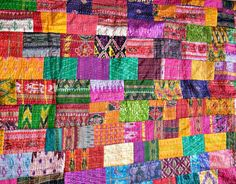 Indian Quilt -Vintage Quilt Old Patola Indian Silk Sari Kantha Quilted Patchwork Bedspread,Throws, Gudari Handmade Tapestry Free US shipping on Etsy, $94.99