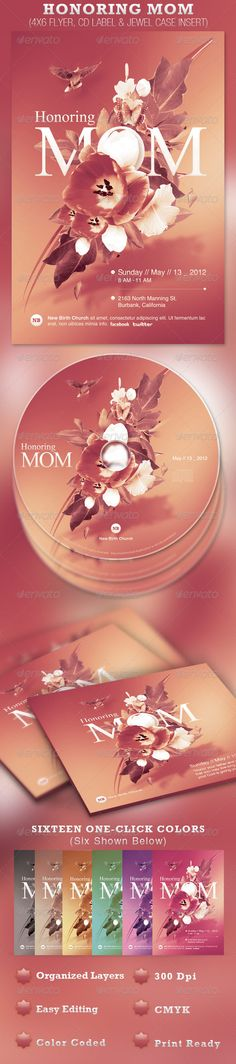 Honoring Mom Church Flyer and CD Template Honouring Mum graphic design