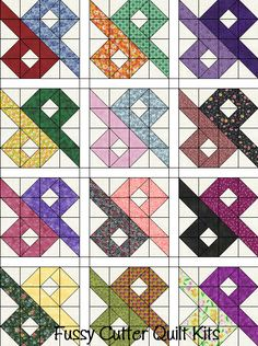 Scrappy Grab Bag Fabric Chinese Puzzle Patchwork Pattern Easy Pre-Cut Quilt Blocks Top Kit Quilting Squares