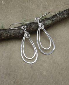 Small Sterling Silver Double Teardrop Earrings - Silver Earrings - Hammered Wire Dangle - Hoops Jewelry via Etsy