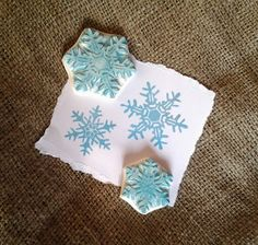 Snowflake Set Fancy Rubber Stamp Hand Carved door EnchantingStamps, $28.00