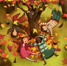 Brushstrokes in the world: Children playing with autumn / Children jugando with the autumn / Children playing with autumn