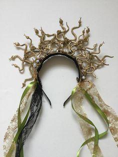 Medusa snake headband gold serpent headpiece Halloween