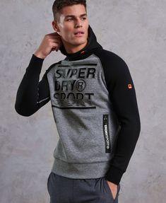 4d1f9f622e9 Mens - Gym Tech Embossed Print Hoodie in Grey Grit black. Blusa Moleton MoletonsInvernoMasculinoSuperdry ...