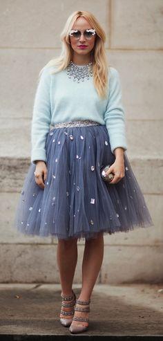 suéter + falda de tul