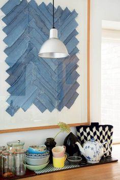 Love that blue textile art Diy Wall Art, Wall Art Decor, Diy Home Decor Bedroom, Interior Decorating, Interior Design, Decoration, Home Art, Interior Inspiration, Interior Architecture