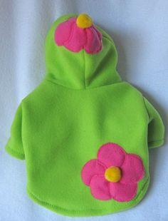 Green Fleece Dog Hoody with Pink Flower by LittleDogFashion