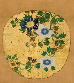 Clematis. School of Ogata Kōrin (1658 –1716) | Fan painting mounted as a hanging scroll; ink, mineral colors, gofun (white powdered shell), and gold on paper with gold leaf. Erik Thomsen Asian Art