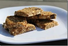 No Bake Banana Chocolate Chip Protien Bars (use PB instead of Almond Butter)