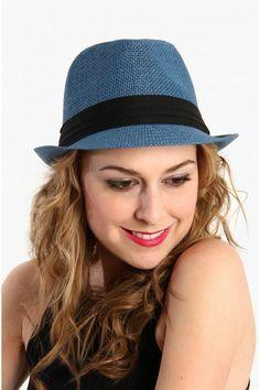 Hipster Fedora Hat - Blue
