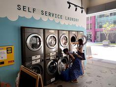 f i n d i n g // f a t s: Sip and Spin Laundry Cafe @ Evolve Mall, Ara Damansara PJ Laundry Room Shelves, Laundry Decor, Laundry Room Signs, Laundry Closet, Laundromat Business, Laundry Business, Laundry Shop, Coin Laundry, Laundry Hamper