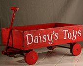Personalized dog toy wagon pet toy wood toy box lil' red wagon gift - KMGstore #toys #wagons