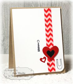 I <3 You Card by Jen Shults #Cardmaking, #CAS, #ValentinesLove