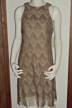 S.L. Fashions Metallic Gold Taupe Crochet Sheath Dress 10 Vintage USA Lined  #SLFashions #Sheath #Clubwear