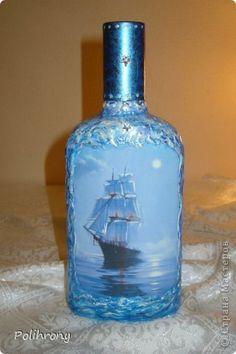 Декор предметов Декупаж Шпатлевка в декоре Бутылки стеклянные фото 3