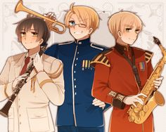 Hetalia (ヘタリア) - America with a trumpet, England with an alto saxophone, & Japan with a clarinet -「へたりあろぐ⑦」/「にのぬこ」の漫画 [pixiv]