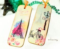 French Style Bookmarks Set of 2 Unique Bookmark by AllAboutDekka Japanese S, Decoupage Art, Paris Eiffel Tower, Champs Elysees, Watercolour Tutorials, Everyday Items, Bookmarks, Purses And Bags, Printables