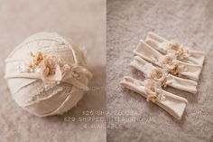Newborn organic cream tone jersey headband with pops of gold and botanical elements.This headband is ready to ship