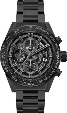 La Cote des Montres : La montre TAG Heuer Carrera Heuer-01 - In-house Chrono Full Black Mat Ceramic 45mm