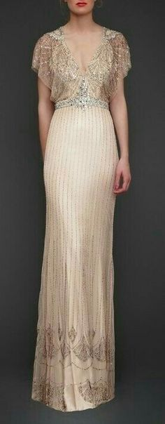 Pale pink wedding dress with bead work by Jenny Packham posted on Community Post: 25 Dazzling Art Deco Wedding Gowns Vestidos Vintage, Vintage Dresses, Vintage Outfits, Vintage Fashion, Victorian Fashion, French Fashion, Beautiful Gowns, Beautiful Outfits, Gorgeous Dress