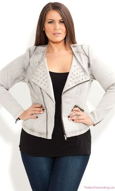 d8dad818a55 fashion for women hourglass size 12 leather coat and jeans - Google Search  Biker Jackets