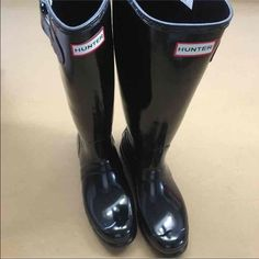 Original black gloss Hunter boots new size 9 w/box Brand new with box. I WILL NOT TRADE. PLEASE DO NOT ASK. Hunter Boots Shoes Winter & Rain Boots