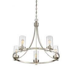 Make a dramatic addition to you living space with this Filament Design Brushed Nickel Chandelier with Clear Glass Shade. Wheel Chandelier, Glass Shades, Brushed Nickel Chandelier, Chandelier Lighting, Light Fixtures, Wagon Wheel Chandelier, Light, Chandelier, Chandelier Shades