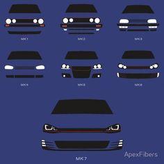 'Hot Hatch Generations' T-Shirt by ApexFibers Golf Mk3, Vw Golf Cabrio, Volkswagen Type 3, Volkswagen Golf Mk1, Passat B4, Jetta Mk1, Best City Car, Gti Mk7, Vw Sharan