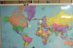 We recorded the route of Leif Erickson on our world map. I think we'll try to use different colored yarn for the different explorers. We'll mark their places of origin and their various destinations.