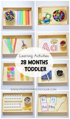 Learning activity trays for #28monthsold toddler #montessori #preschool #practicallfeskills #finemotorskills #activities #kidsactivities #homeschool #homeeducation