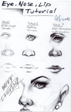 Eye, nose and lip tutorial by ~blucinema on deviantART