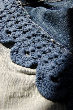Crochet-Lace with Denim-Skirt by KeTreKo, via Flickr Can be put on the hem of any kind of skirt! :)