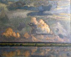 Antti Faven (1822 - 1948): Kesämaisema. Etualalla järvi. Takana viljapelto ja pilvinen taivas. 1940.