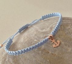 Items similar to Anchor Rose gold delicate charm friendship macrame bracelet. on Etsy Anchor, Friendship, Delicate, Beaded Bracelets, Rose Gold, Charmed, Purses, Trending Outfits, Unique Jewelry