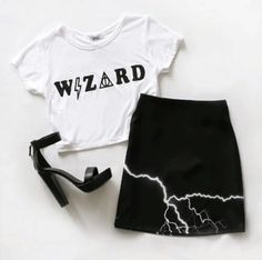 Shirt: wizard harry potter t- crop tops white witch cropped t- halloween skirt