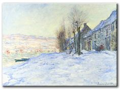 MU_MN2016 _ t_Monet _ lavacourt with Sunshine and Snow / Cuadro Paisaje, lavacourt Nevado al Atardecer